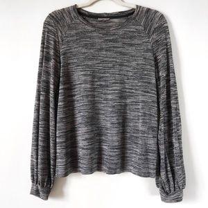 Zara | Balloon Sleeve Shimmer Knit Top